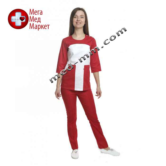 84d8cafbbd9 Медицинский костюм женский Фиджи белый красный № 1060 купить